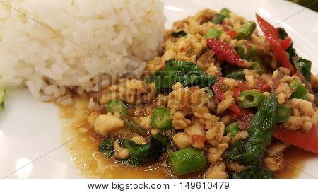 Thai Food recipe. Thai culture style recipe on table