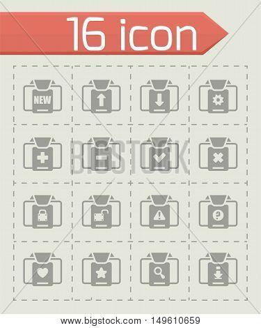 Vector Folder icon set on grey background