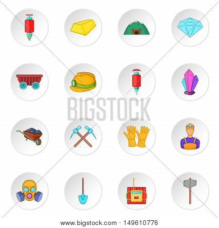 Mining icons set in cartoon style. Quarrying industry set collection vector illustration