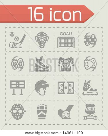 Vector Hockey icon set on grey background