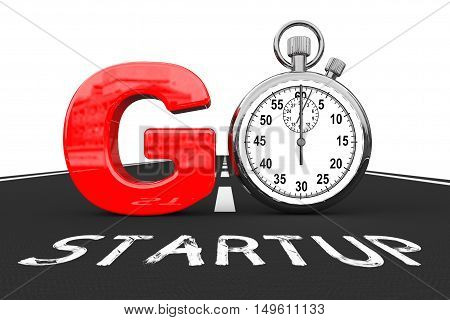 Startup Concept. Stopwatch as Go Sign over Startup Road on a white background. 3d Rendering