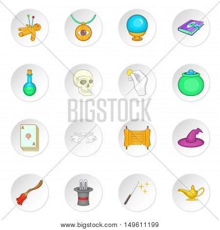 Magic icons set in cartoon style. Magician equipment set collection vector illustration