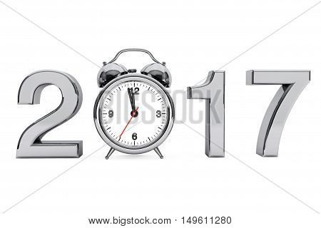 New Year 2017 concept. 2017 Steel Sign with Alarm Clock on a white background. 3d Rendering
