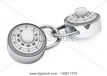 To Linked Padlocks with Combination Lock on a white background. 3d Rendering