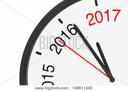 The Year 2017 is Approaching. 2017 Sign with a Clock on a white background. 3d Rendering