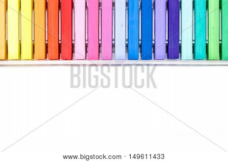Bunch Of Square Colorful Pastel Chalks In A Box, On White Background With Copy-space