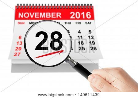 Cyber Monday Concept. 28 November 2016 calendar with magnifier on a white background