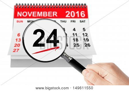 Thanksgiving Day Concept. 24 November 2016 calendar with magnifier on a white background
