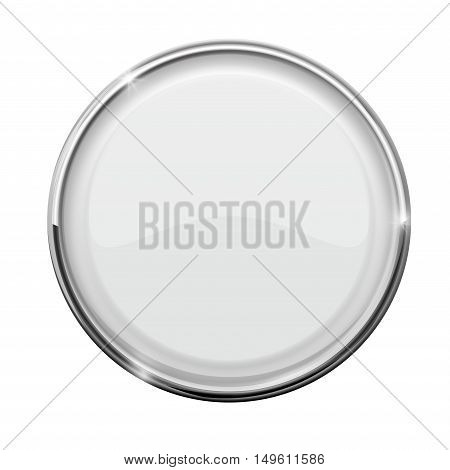 Glass button. White round button with metal frame. Vector illustration isolated on white background