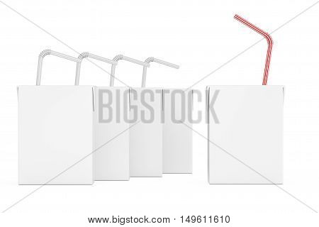 Blank Milk or Juice Carton Boxes with Striped Straw on a white background. 3d Rendering