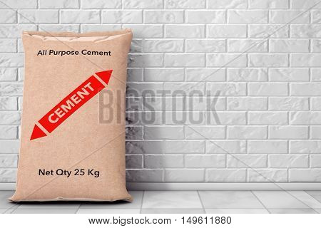 Paper Sacks Cement Bag in front of brick wall. 3d Rendering