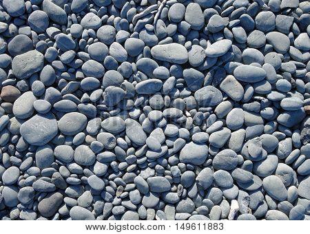 grey pebbles on a beach. background texture