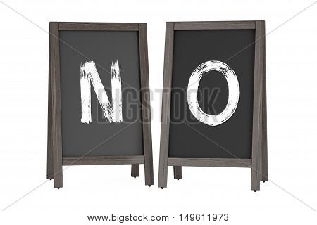 Wooden Menu Blackboard Outdoor Displays with No Sign on a white background. 3d Rendering