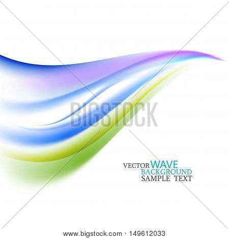 Blue and green abstract waves on white background Gradient mesh vector