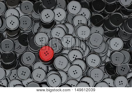 Sewing Buttons background. Black Sewing Buttons with One Red extreme closeup. 3d Rendering