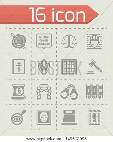 Vector Justice icon set on grey background
