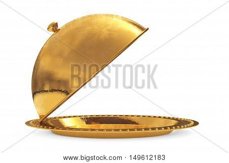 Golden Restaurant Cloche on a white background. 3d Rendering