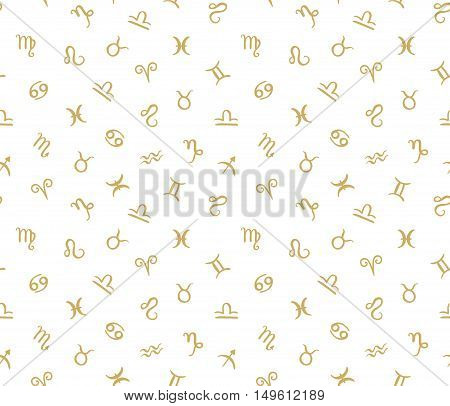 Vector Seamless pattern with horoscope zodiac signs. Golden hipster background.