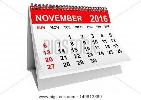 2016 year calendar. November calendar on a white background. 3d rendering
