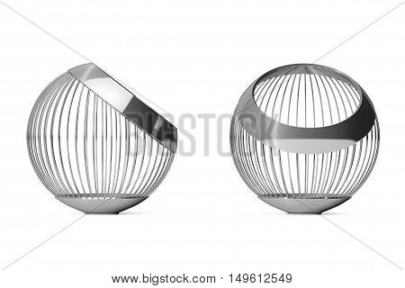 Chrome Steel Wire Vases for Fruits on a white background. 3d Rendering