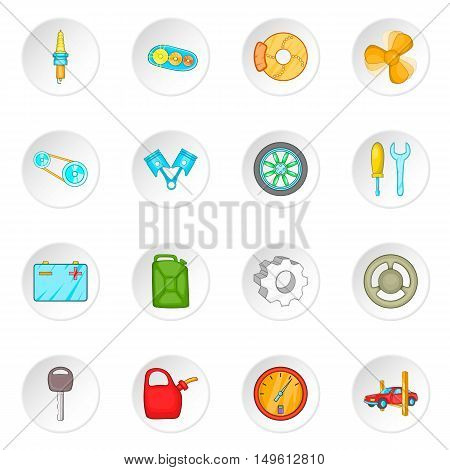 Car maintenance icons set in cartoon style. Auto spare parts set collection vector illustration