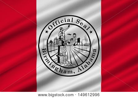 Flag of Birmingham is the largest city in Alabama United States. 3D illustration