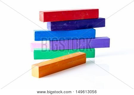 Stack Of Square Colorful Pastel Chalks, On White Background