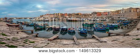 Bisceglie old port (Puglia Italy) at sunset