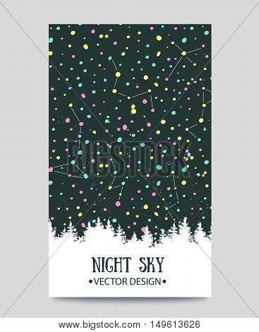 Background with night sky. stars and forest. Vector hand drawn illustration.