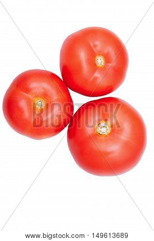 Three Fresh Healthy Tomatoes Isolated Over White Background