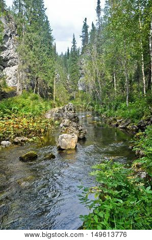 River in a rocky gorge. The river in the national Park Yugyd VA in the Northern Urals.