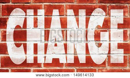 Change Written On A Red Brick Wall