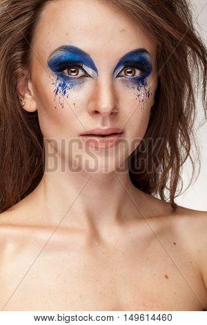 Beautiful Woman With Fantasy Art Blue Make Up