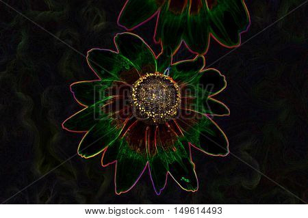 Mysterious gleaming neon colorful bloom plant abstract image