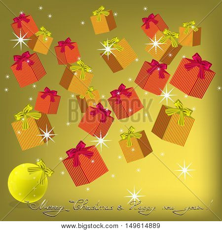 Christmas and New Year backgrouns with gifts and bows