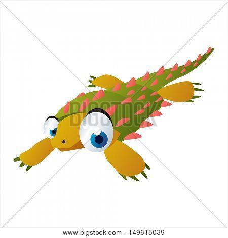 cute vector comic cartoon animal. Cool colorful water dinosaur Cyamodus