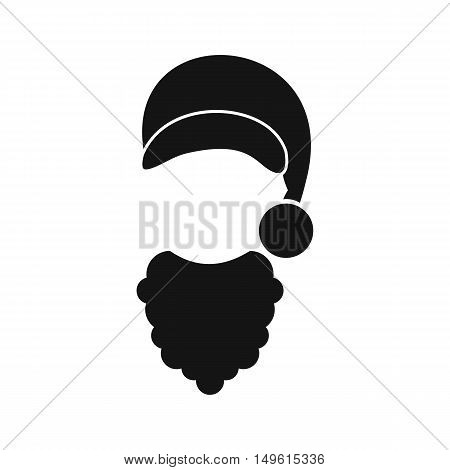 Cap with pompon of Santa Claus and beard icon in simple style on a white background vector illustration