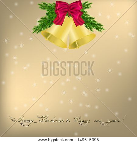 Christmas and New Year Greeting card with jingle bells and bow
