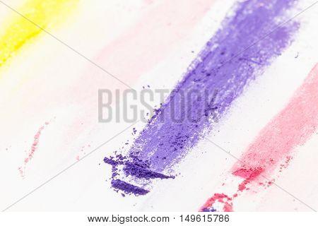 Purple Pastel Chalk Powdered Pigment Closeup, On White Background