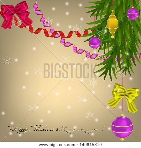 Christmas greeting with Christmas balls bows and ribbons