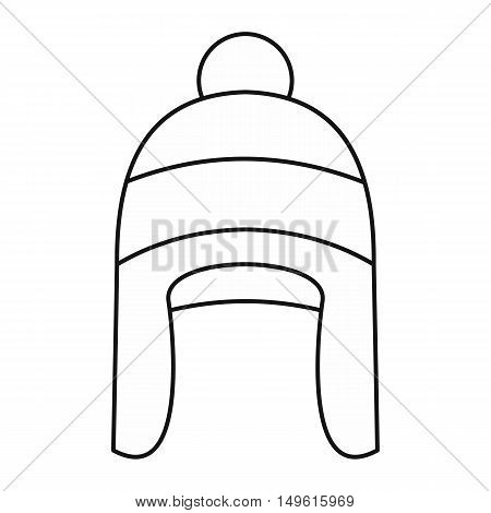 Winter hat icon in outline style on a white background vector illustration