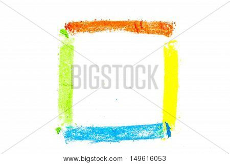 Square Drawn With Colorful Pastel Chalks, On White Background