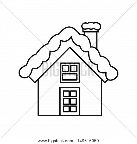 Snowy cottage icon in outline style on a white background vector illustration