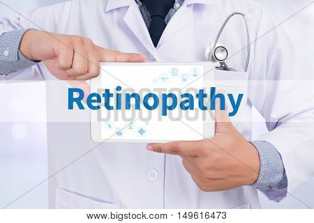 Retinopathy Doctor holding digital tablet doctor work hard top view
