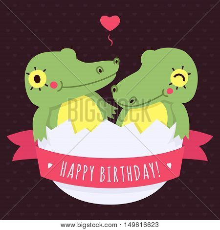 Cute twins baby crocodiles in egg vector happy birthday card and background with heart and pink ribbon