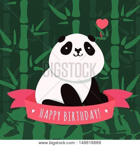Vector Happy Birthday card with cartoon cute panda green bamboo heart and pink ribbon
