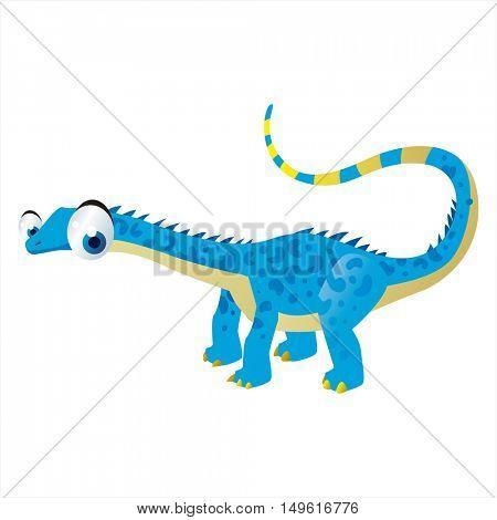 cute vector comic cartoon animal. Cool colorful dinosaur Diplodocus