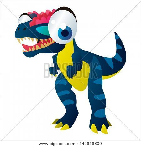 cute vector comic cartoon animal. Cool colorful dinosaur Tyrannosaurus