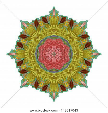 Vector Beautiful Deco Colored contour Mandala Patterned Design Element Ethnic Amulet