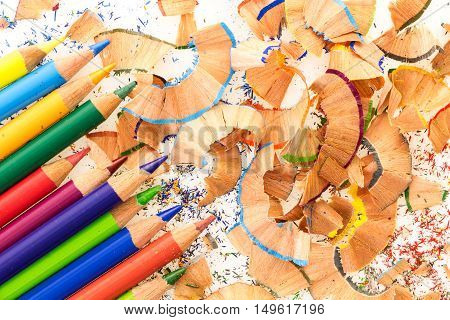 Bunch Of Colorful Pencils, On A Pile Of Colorful Pencil Shavings